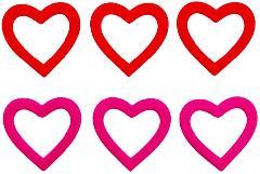 バレンタイン(25cmフロックリングハート3個セット・ピンク)DIHE9355