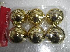 在庫処分特価メッキボール�J(60mmゴールドーヒモ付き6ケ)