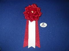 胸につける花リボンバラ章・記章・徽章(中・花径10cm)赤/選挙・講演会等で胸につける花