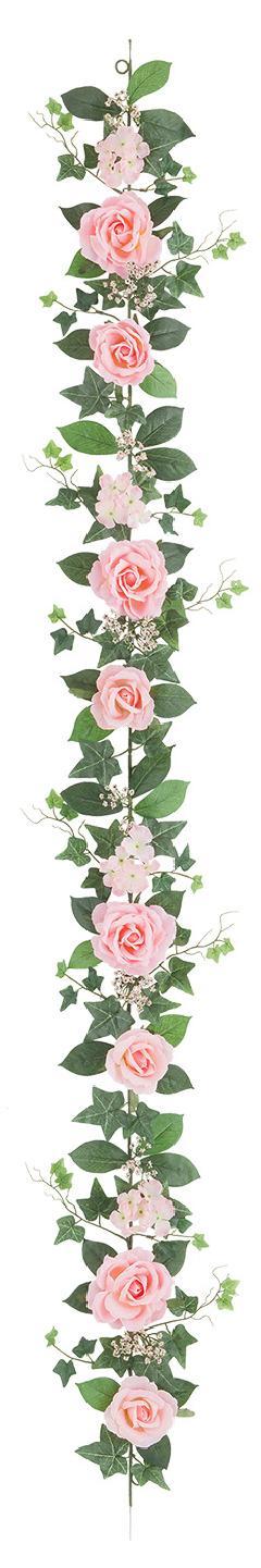 屋内用造花バラガーランド(ファインローズ・ブライダルピンク・全長180cm/花径3.5〜11cm)FLG−3017