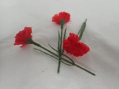 特別セット(造花カーネションミニ・レッド60本)全長10cm花径3,5cm