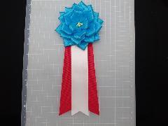 胸につける花リボンバラ・記章・徽章(中・花径10cm)水