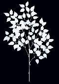 白い枝ウィンターバーチリーフ枝(L)ホワイト・110cmLES5086