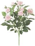 屋内用造花バラブッシュ鉢ナシ(ミニダイヤモンドローズ・ピンク・全長27cm/花径1〜4.5cm)FLB8004