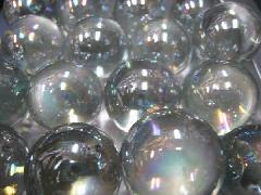 ビー玉・ガラス玉オーロラ25mm×25粒 クリア