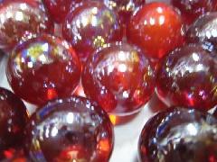 ビー玉・ガラス玉オーロラ25mm×25粒 レッド