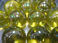 ビー玉・ガラス玉オーロラ25mm×25粒 イエロー