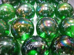 ビー玉・ガラス玉オーロラ25mm×25粒 グリーン