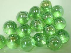 ビー玉・ガラス玉オーロラ17mm×130粒 ライトグリーン