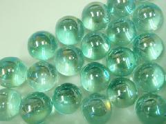 ビー玉・ガラス玉オーロラ17mm×130粒 エメラルドグリーン