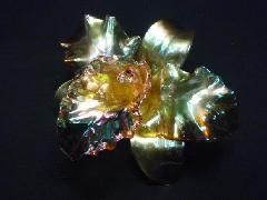アクリルフラワー(カトレア・14cm・ゴールド)