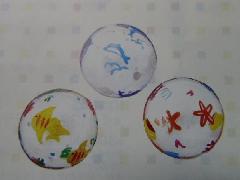 5cmガラスの浮玉(L・マリン・6個アソート柄)GM748
