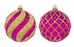 クリスマスボール80mmスパイラル/ラティスボール4個アソートセット(ピンク/ゴールド)OXM1482