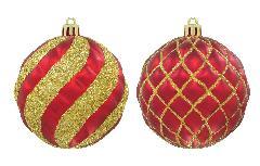 クリスマスボール80mmスパイラル/ラティスボール4個アソートセット(フロストレッド/ゴールド)OXM1483