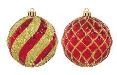 クリスマスボール80mmスパイラル/ラティスボール4個アソートセット(レッド/ゴールド)OXM1482
