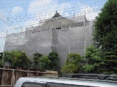 神奈川県愛川町日本家屋住宅塗り替え足場工事