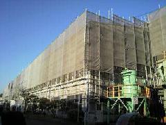 神奈川県相模原市工場屋根 雨樋工事足場施工