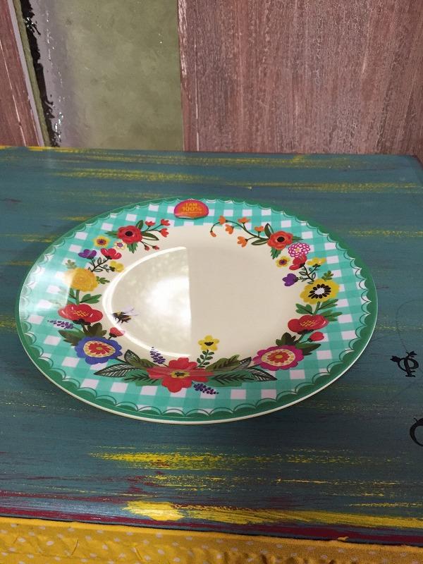 メラミン食器花柄グリーンー大