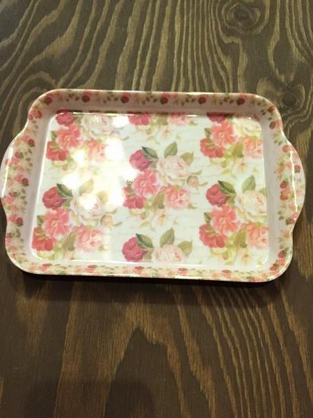 メラミン食器花柄バラピンク,赤、大