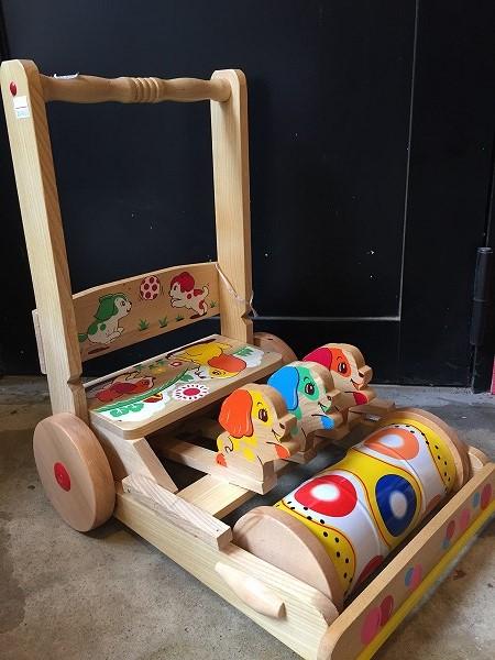 木のおもちゃ昭和レトロカタカタ手押し車