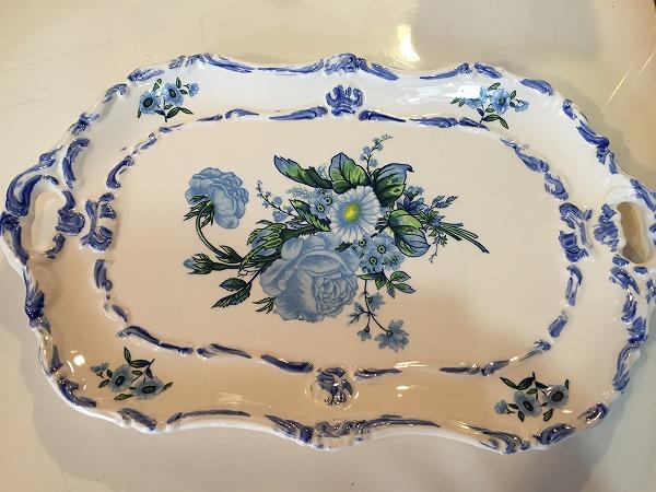 ビンテージブルーのお花のお皿