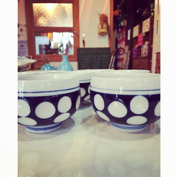 昭和レトロ湯のみ水玉柄