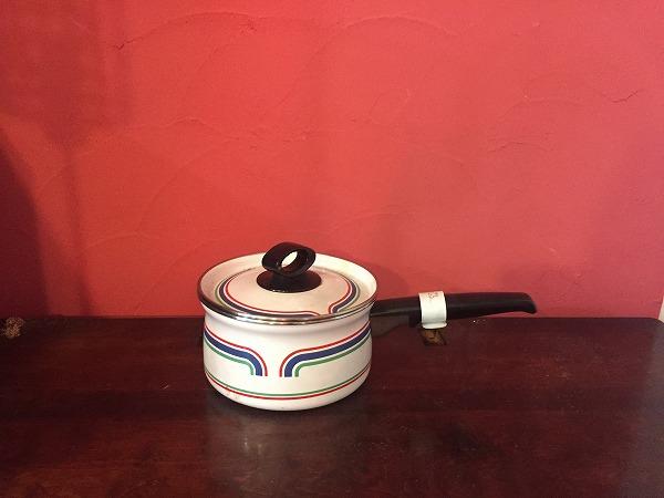 かわいい柄のホーロ片手鍋白