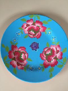 メラミン食器花柄ブルー大