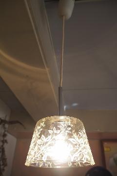 花柄ガラスアンティークペンダントライト1