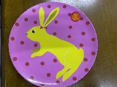 メラミン食器ピンク水玉ウサギ