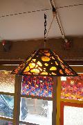 ステンドグラス風古い色ガラスの照明2つ電球