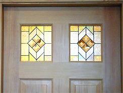 トイレドアのステンドグラス設置例