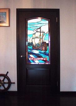 リビングドア「帆船」ステンドグラスパネル