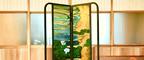 ステンドグラス屏風「水面を渡る瞬間」