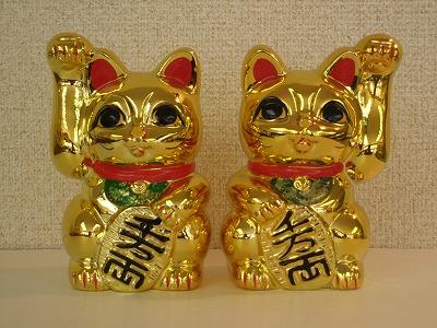 招き猫(3号金)手長