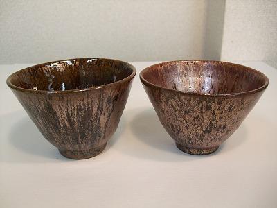 秀美作 夫婦茶碗(鉄釉)