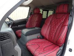 フロント用NV350キャラバン IFUU高級欧州車デザイン3D成形バケットシートカバー ボルドー×ブラック