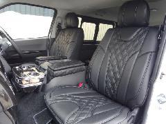 1台分セット200系ハイエース用 IFUU高級欧州車デザインシートカバー ブラック×ブラック