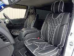 1台分セット200系ハイエース用 IFUU高級欧州車デザインシートカバー ブラック×ホワイト