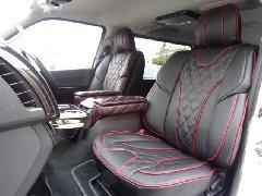 1台分セット200系ハイエース用 IFUU高級欧州車デザイン3D成形バケットシートカバー ブラック×ボルドー