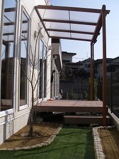 樹脂デッキ ウッドデッキ 人工芝 木目調テラス屋根