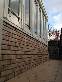 ガーデンルーム 暖蘭物語 腰壁 タイルテラス