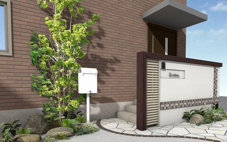 新築外構 門柱 玄関目隠し ポールポスト ドゥオモ