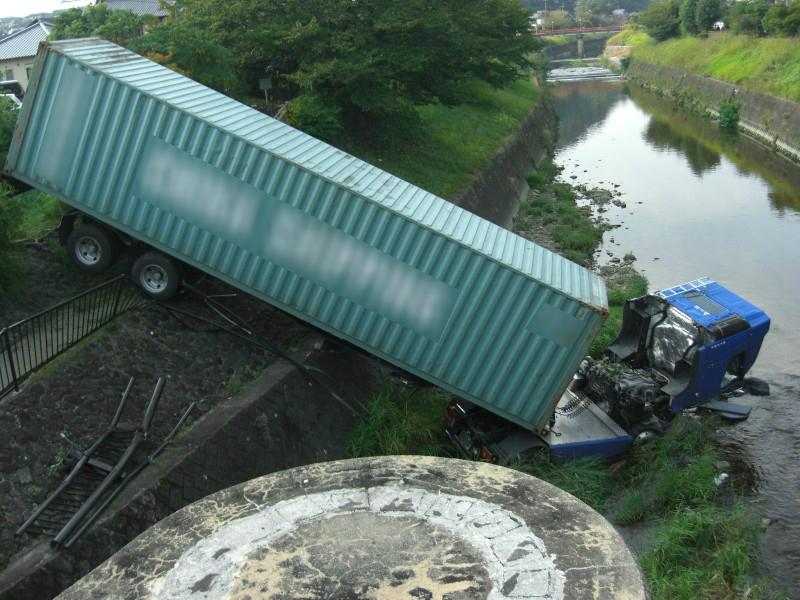 奈良龍田大橋トレーラー墜落