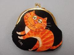 がまぐち(黒地×オレンジ猫×中ねずみ)