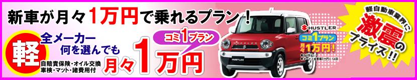 新車が月々1万円で乗れるプラン
