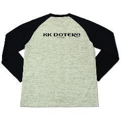 T.KustoM KK DOTERA ラグランロングTシャツ ブラックプリント