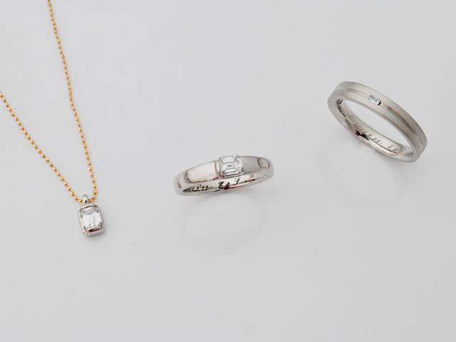 N様Pt900ダイヤモンドリング&エンゲージペンダント(結婚指輪+婚約ペンダント)