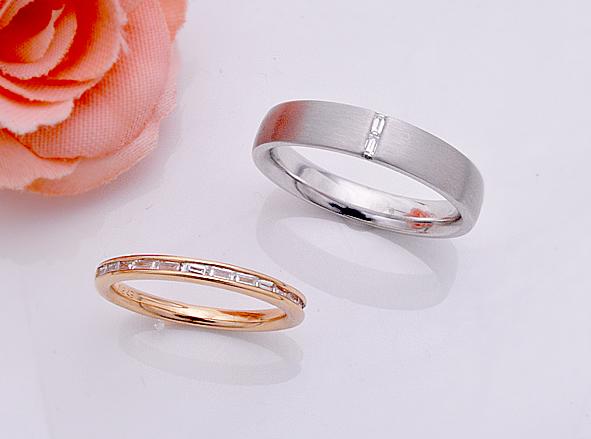 Y様バゲットカット結婚指輪(マリッジリング)