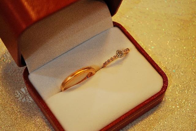 N様K18PG ダイヤモンドご結婚指輪(マリッジリング)